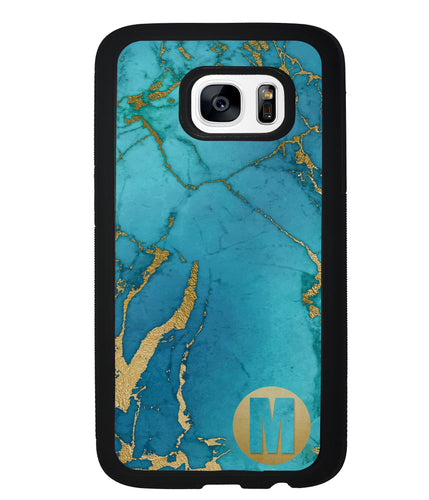 Teal and Gold Marble Initial | Samsung Phone Case