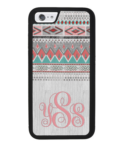 Pink and Green Tribal Wood Monogram | Apple iPhone Case