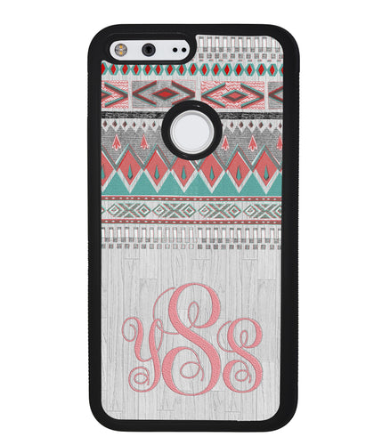 Pink and Green Tribal Wood Monogram | Google Case