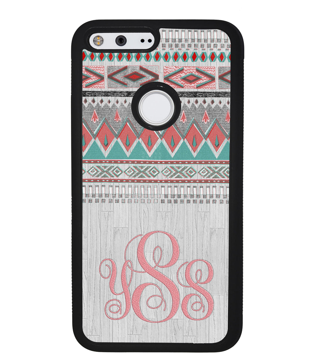 Pink and Green Tribal Wood Monogram | Google Phone Case