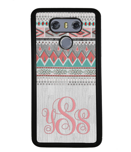 Pink and Green Tribal Wood Monogram | LG Case