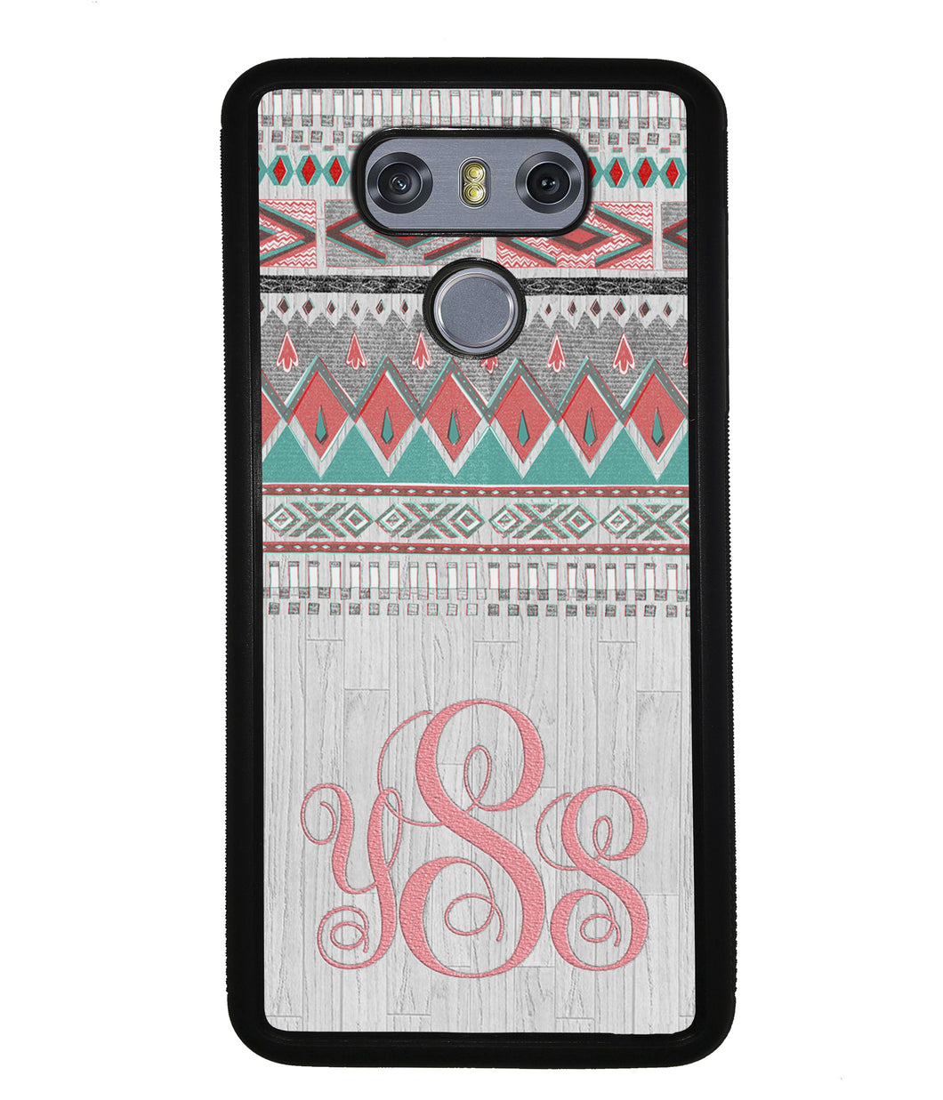 Pink and Green Tribal Wood Monogram | LG Phone Case