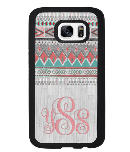 Pink and Green Tribal Wood Monogram | Samsung Case