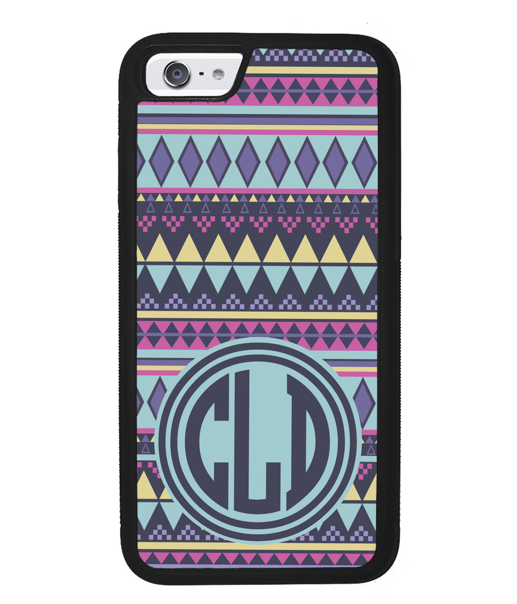 Tribal Monogram Purple Blue Yellow | Apple iPhone Case