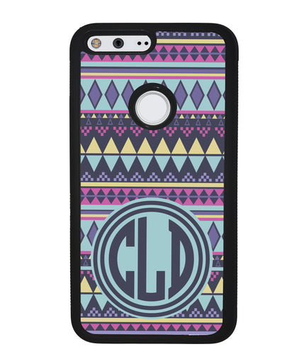 Tribal Monogram Purple Blue Yellow | Google Case