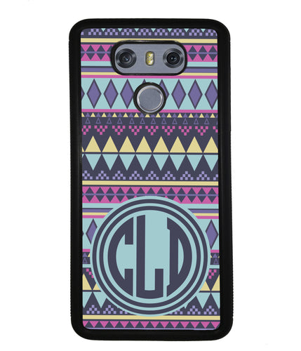 Tribal Monogram Purple Blue Yellow | LG Phone Case