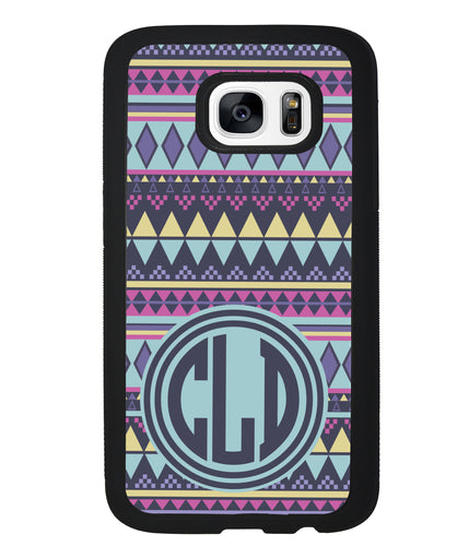 Tribal Monogram Purple Blue Yellow | Samsung Phone Case