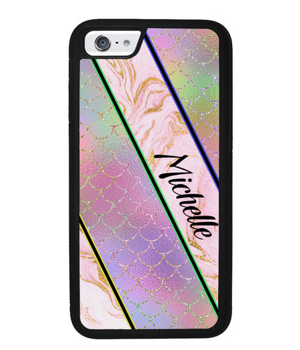 Unicorn Mermaid Scale Pink Marble Personalized | Apple iPhone Case
