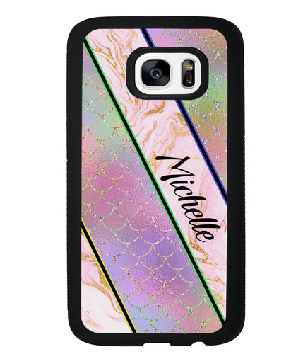 Unicorn Mermaid Scale Pink Marble Personalized | Samsung Phone Case