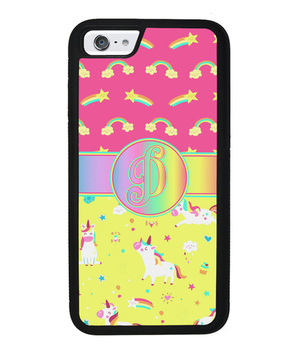 Unicorn Pastel Rainbow Initial | Apple iPhone Case