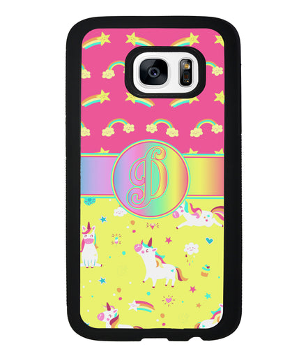Unicorn Pastel Rainbow Initial | Samsung Phone Case