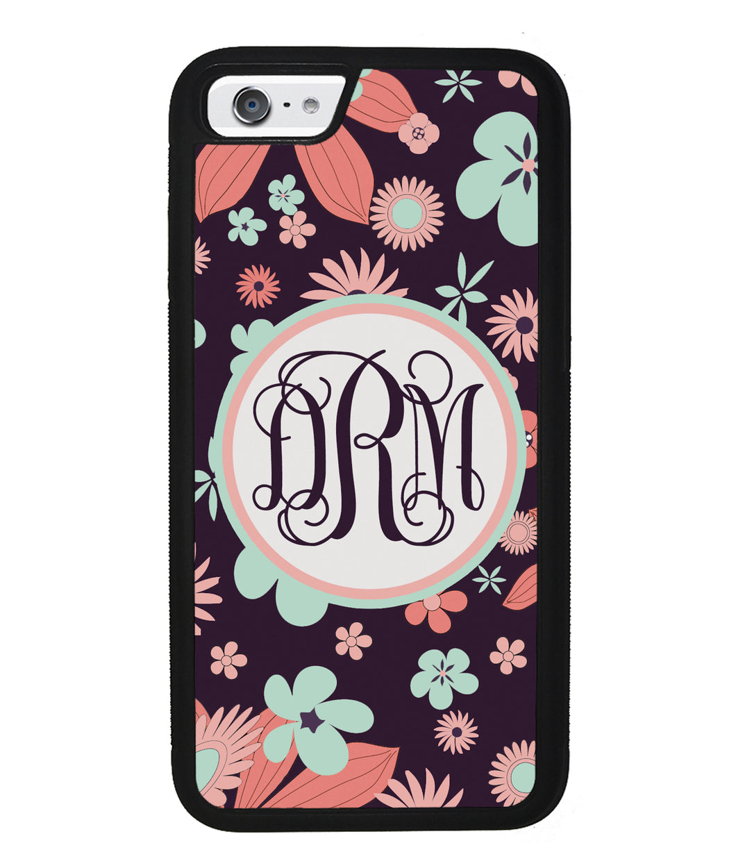 Vintage Flowers Purple Script Monogram | Apple iPhone Case