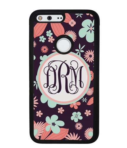 Vintage Flowers Purple Script Monogram | Google Phone Case