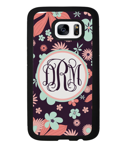 Vintage Flowers Purple Script Monogram | Samsung Phone Case
