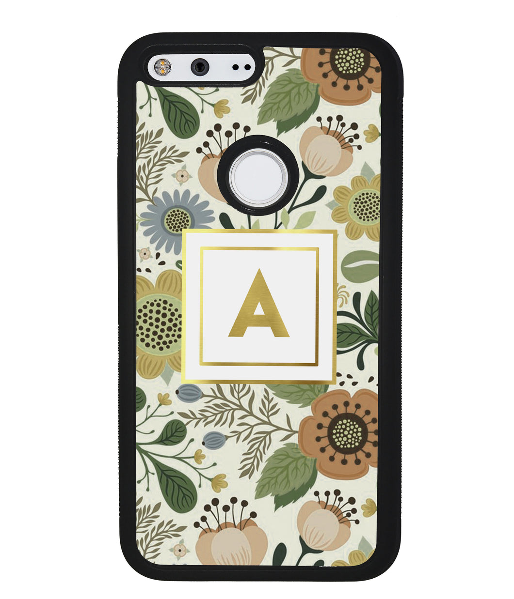 Vintage Flower Golden Initial | Google Phone Case