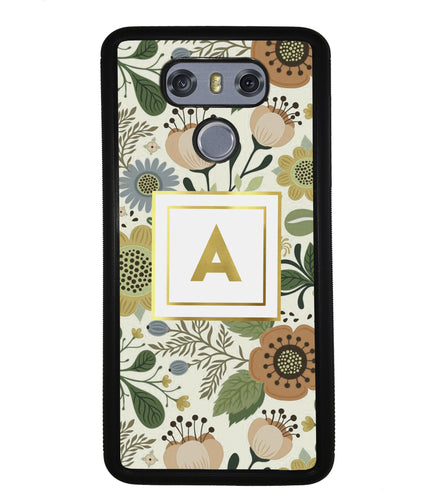 Vintage Flower Golden Initial | LG Phone Case