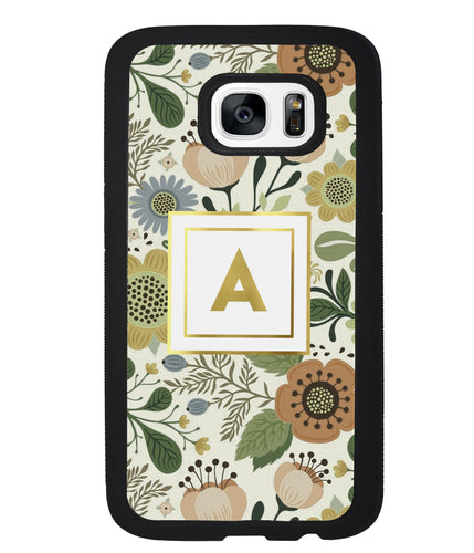 Vintage Flower Golden Initial | Samsung Phone Case