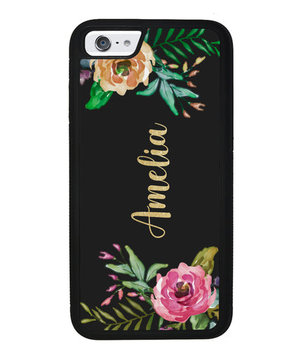 Vintage Flowers Golden Personalization | Apple iPhone Case