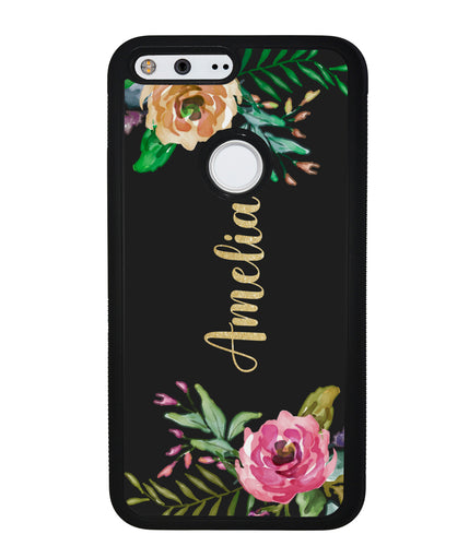 Vintage Flowers Golden Personalization | Google Phone Case