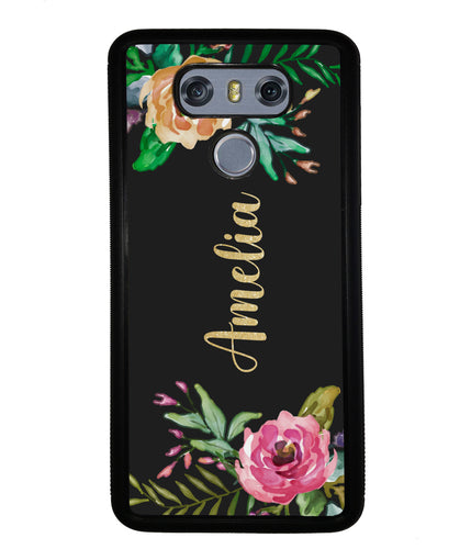 Vintage Flowers Golden Personalization | LG Phone Case