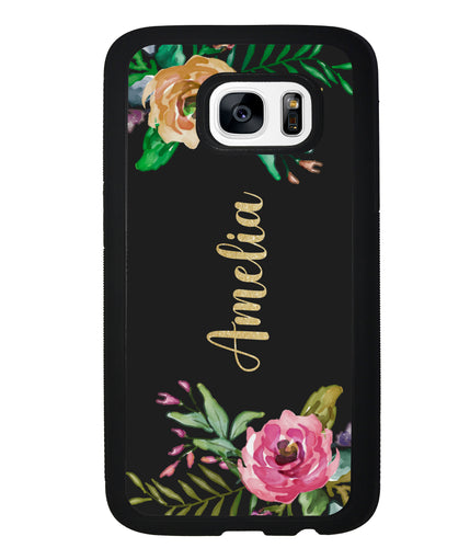 Vintage Flowers Golden Personalization | Samsung Phone Case