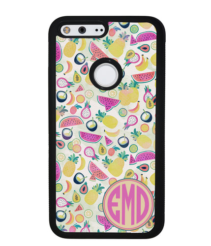 Watermelon Pineapple Fruit Monogram | Google Phone Case
