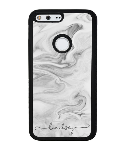 White Marble Script Personalized | Google Phone Case