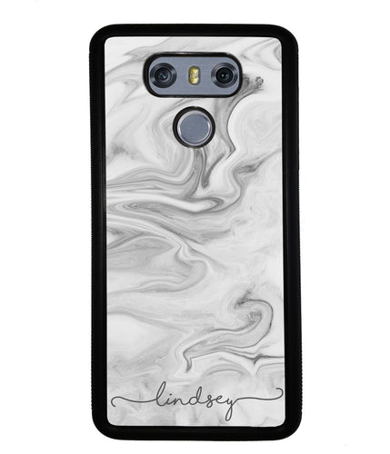 White Marble Script Personalized | LG Phone Case