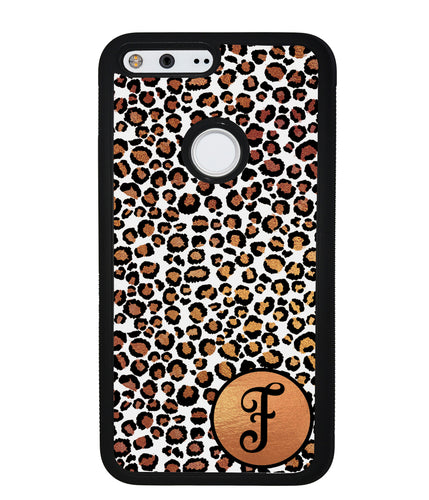 White Gold Foil Leopard Skin Personalized | Google Phone Case