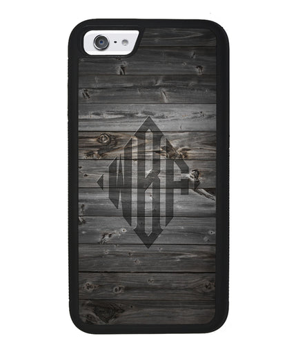 Wood Texture Diamond Monogram | Apple iPhone Case