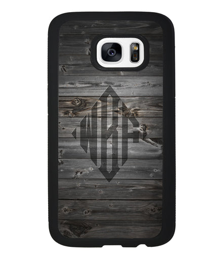 Wood Texture Diamond Monogram | Samsung Phone Case