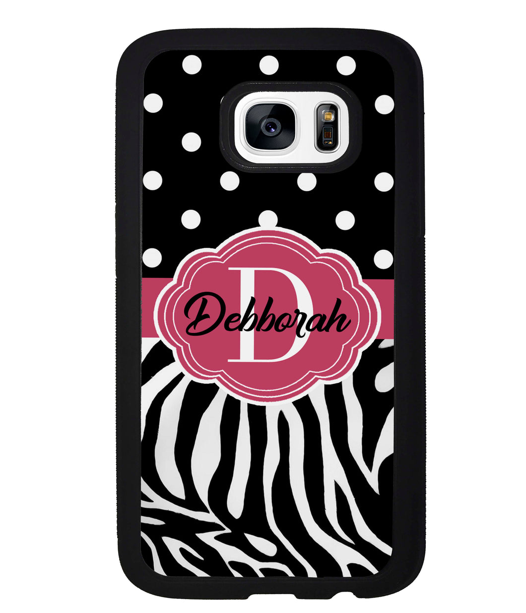 Zebra Polka Dot Red Personalized | Samsung Phone Case
