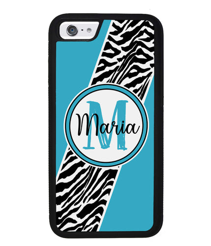 Zebra Skin Stripe Blue Teal Personalized | Apple iPhone Case