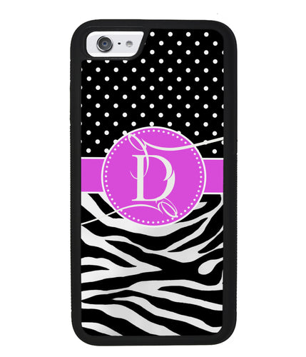 Zebra and Polka Dot Initial | Apple iPhone Case