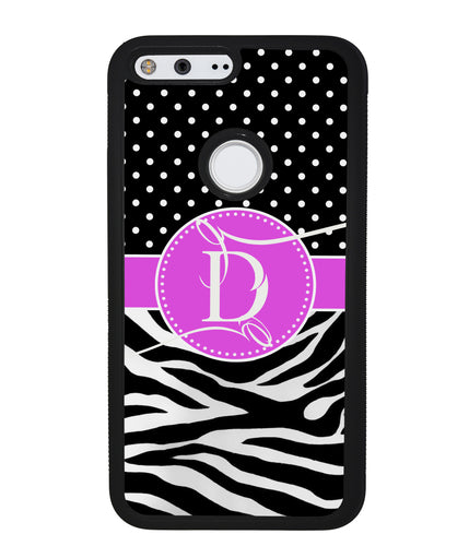 Zebra and Polka Dot Monogram | Google Case