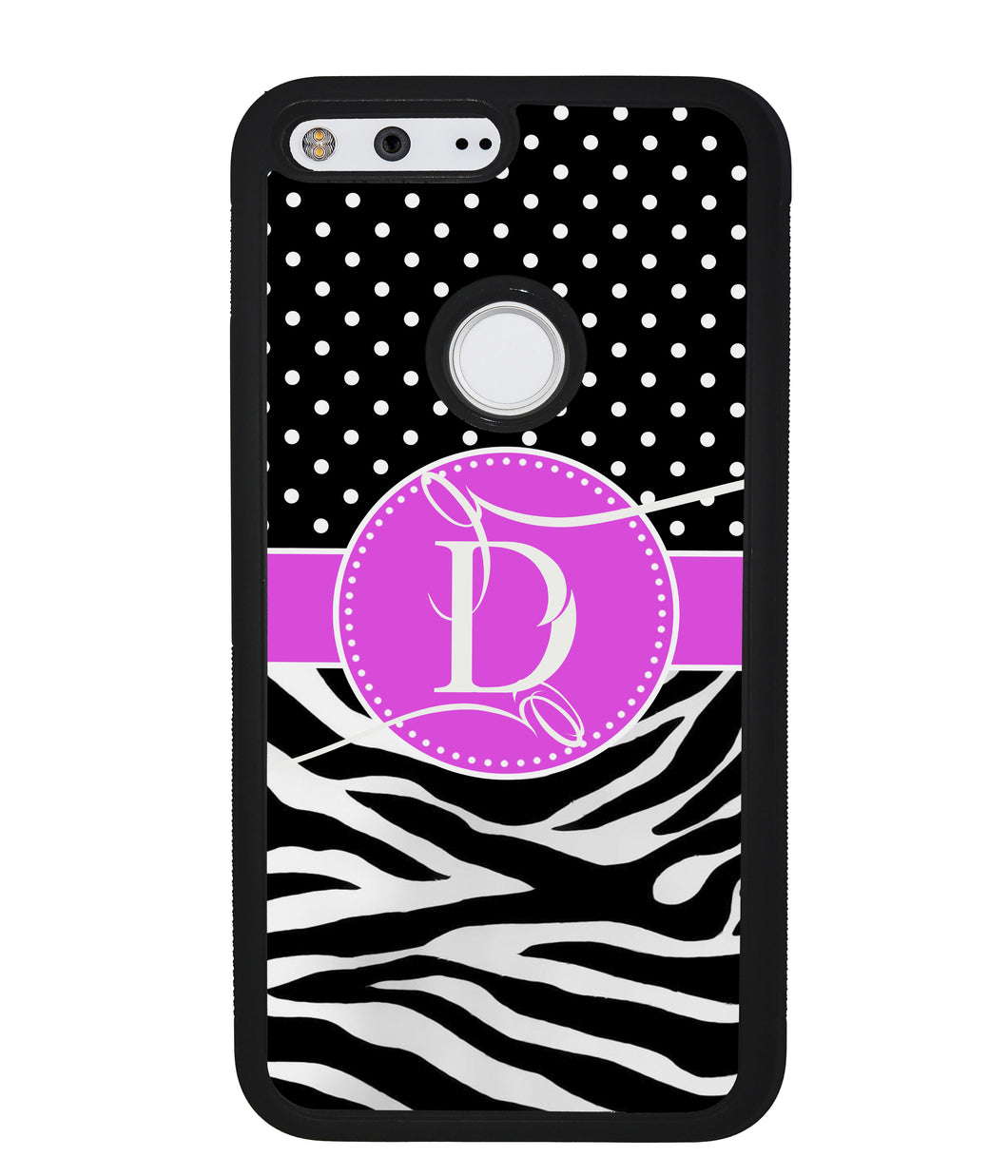 Zebra and Polka Dot Initial | Google Phone Case