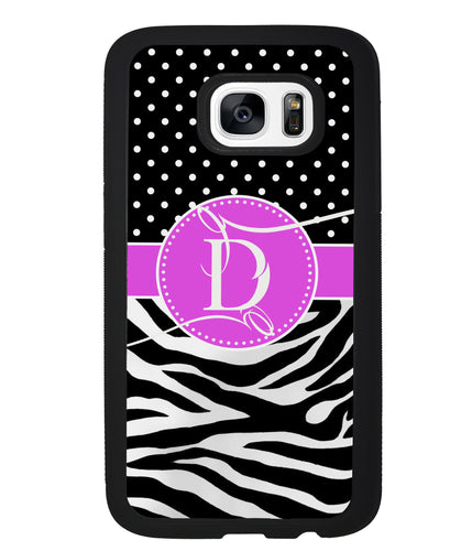 Zebra and Polka Dot Monogram | Samsung Case