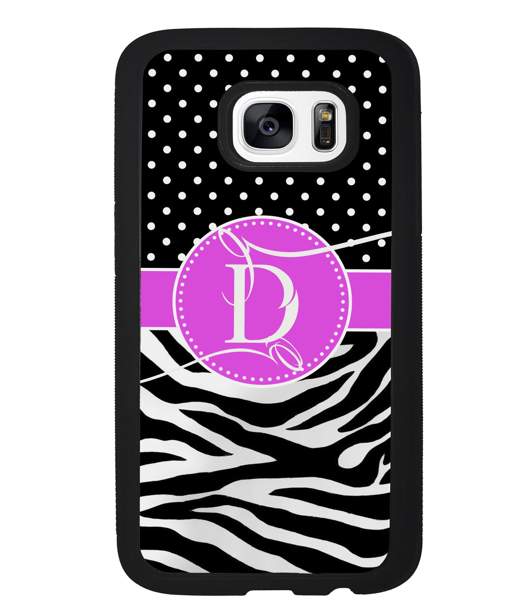 Zebra and Polka Dot Initial | Samsung Phone Case