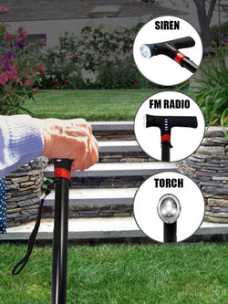 Smart Walking Stick with Adjustable Height, FM Radio, Siren and Torch with Warranty