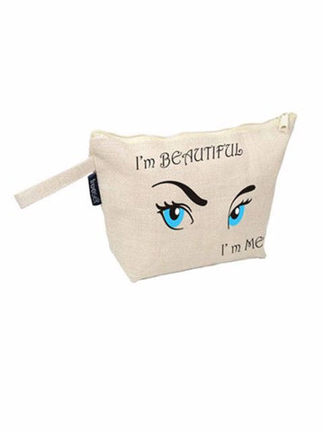 Madsbag Jute Canvas Casual Vanity Cosmetic Pouch Hand Bag
