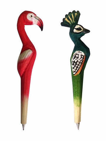 Madsbag Creative Handcrafted Wooden Artistic Cute Bird Shaped | Set of Two Pens | Flamingo + Peacock
