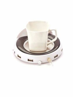 Madsbag Tea Coffee Milk USB Cup Warmer with 4 USB Ports (White)| This is NOT a Hot Plate