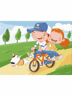 Madsbag DIY Oil Painting Kit For Kids - Children On Bicycle (20*30*3 cm)
