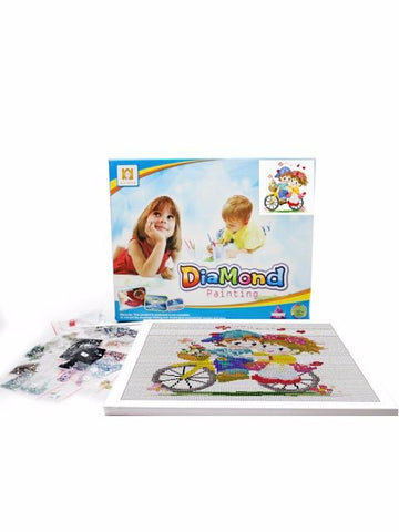 Madsbag Paint By Numbers DIY Diamond Painting Kit For Kids - Children On Cycle (40*40 cm)