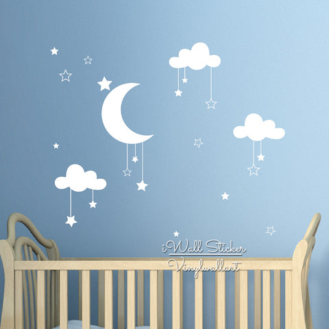 Easy Wall Art Baby Nursery Clouds Stars Wall Sticker Decal Vinyl for Kids Room Decor