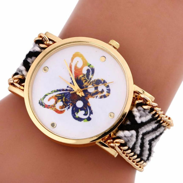 Fashionable & Colourful Knitted Butterfly Quartz Watch