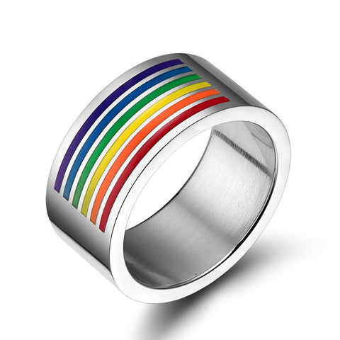 European Exquisite Six colour stripes Unique Design Stainless Steel Finger Ring For Women and Men