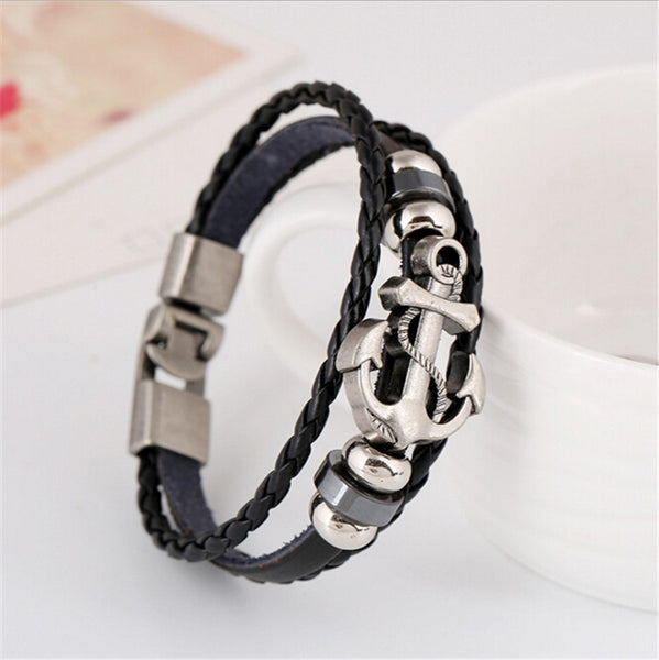 Trendy Stylish Fashion Leather Bracelet | Anchor Shape