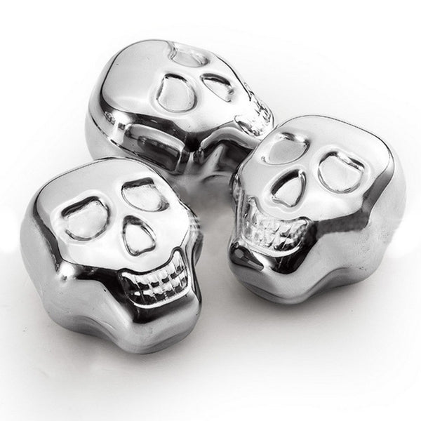 Trendy Cool Skull Shaped Ice Cubes Stainless Steel Chill Any Drink | Set of 5 pcs