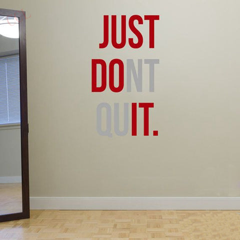 "Gym Workout Motivation Quote ""JUST DONT QUIT"" Vinyl Wall Art Sticker"